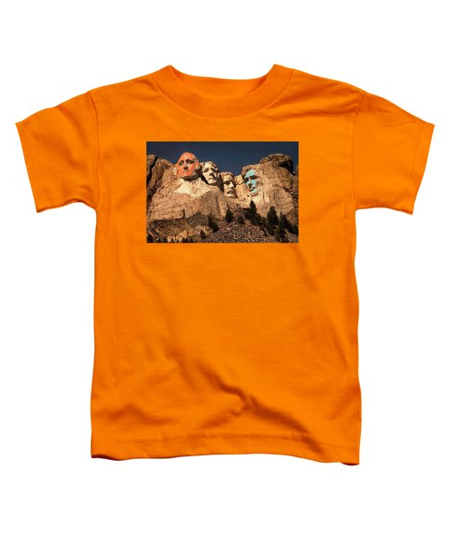 Mount Rushmore Red And Blue Drawing Toddler T-Shirt