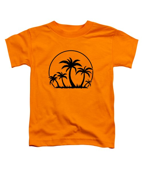 Palm Trees And Sunset In Black Toddler T-Shirt