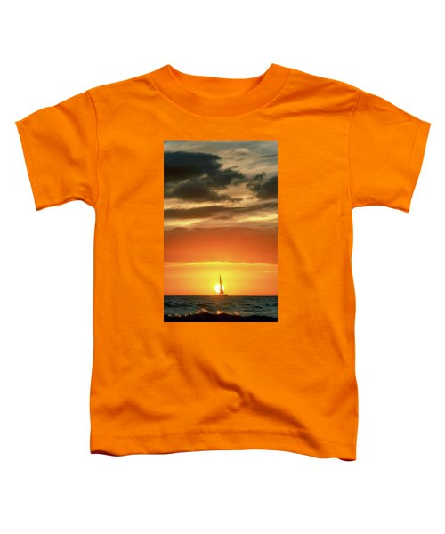 Sailboat In Front Of A Hawaiian Sunset Toddler T-Shirt