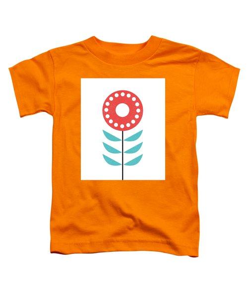 Scandinavian Light Coral Flower Toddler T-Shirt