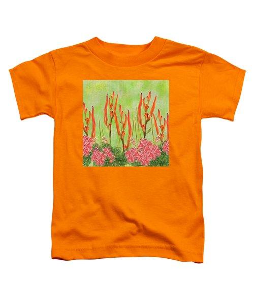 Tropical Floral Print Lime Green Batik Toddler T-Shirt