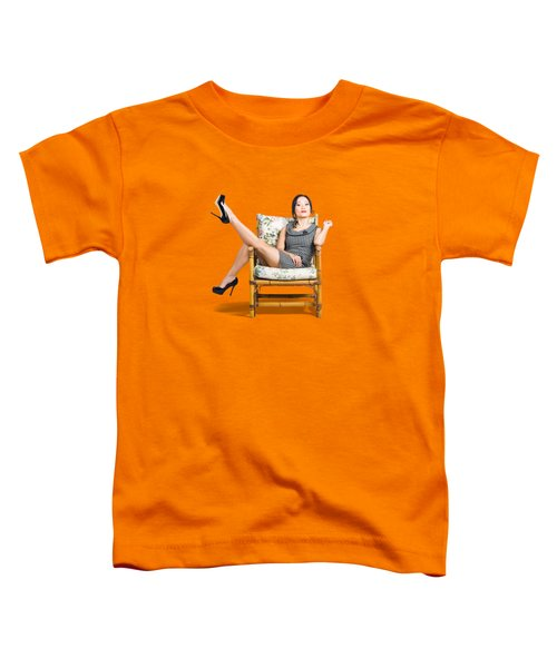 Young Vintage Fashion Model Sitting On Chair Toddler T-Shirt