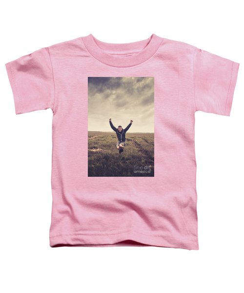 Holiday Man Jumping On Rural Australia Landscape Toddler T-Shirt