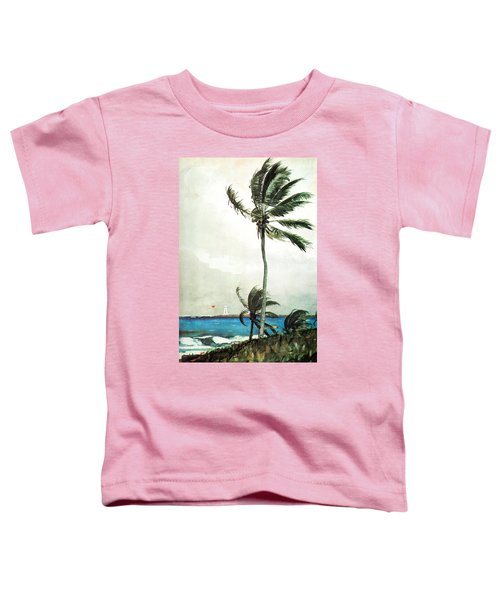 Toddler T-Shirt featuring the painting Palm Tree Nassau by Celestial Images