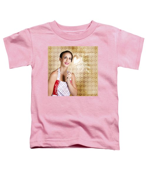 Smiling Female Cook Baking Cake With Sweet Love Toddler T-Shirt