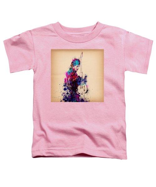 Bruce Springsteen Splats And Guitar Toddler T-Shirt by Bekim Art