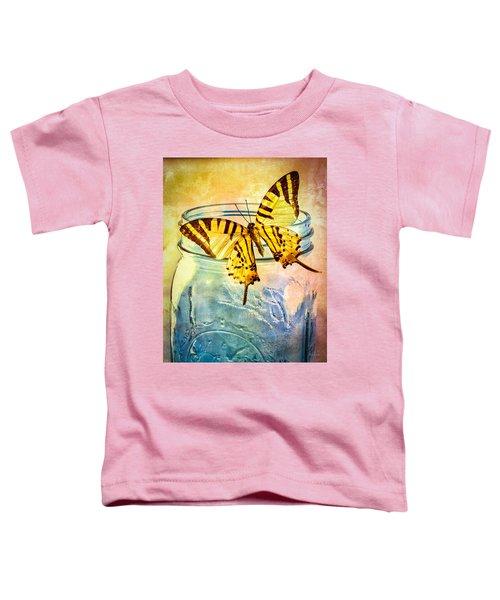 Butterfly Blue Glass Jar Toddler T-Shirt by Bob Orsillo
