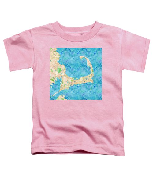 Toddler T-Shirt featuring the digital art Cape Cod Watercolor Map by Joy McKenzie