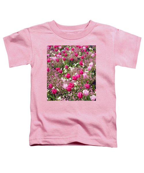 Colorful Pink Tulips And Other Flowers In Spring Toddler T-Shirt