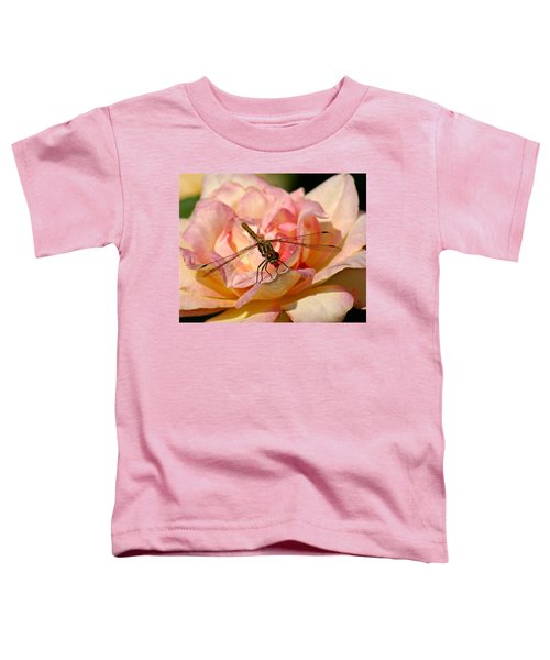 Dragonfly On A Rose Toddler T-Shirt