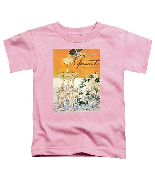 Gourmet Cover Featuring A Pyramid Of Champagne Toddler T-Shirt