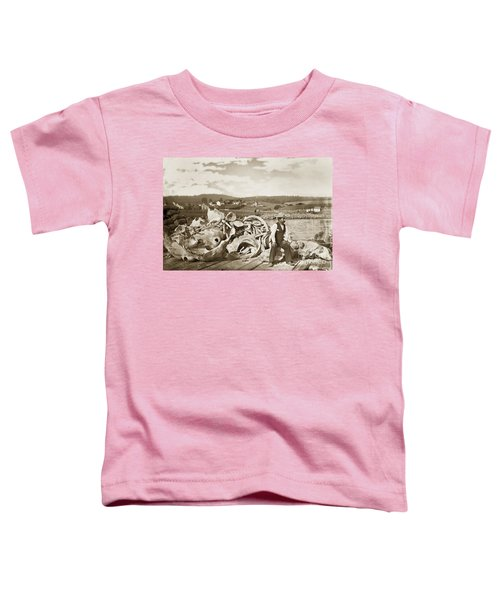 Michael Noon Sitting On A  Pile Of Whale Bones Monterey Wharf  Circa 1896 Toddler T-Shirt