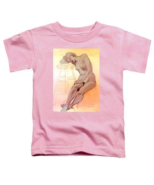 Nude Woman Leaning On A Barstool Toddler T-Shirt
