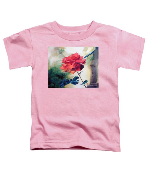 Watercolor Of A Single Red Rose On A Branch Toddler T-Shirt