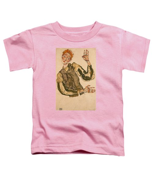 Self-portrait With Striped Sleeves Toddler T-Shirt