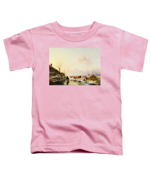 Skaters By A Booth On A Frozen River Toddler T-Shirt