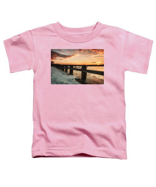 Snowy Sunset In Northport New York Toddler T-Shirt