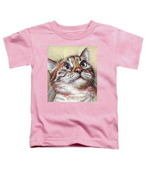 Surprised Kitty Toddler T-Shirt by Olga Shvartsur