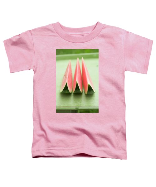 Three Wedges Of Watermelon On Green Table Toddler T-Shirt
