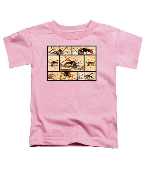 Toddler T-Shirt featuring the photograph Wasp And His Kill by Miroslava Jurcik