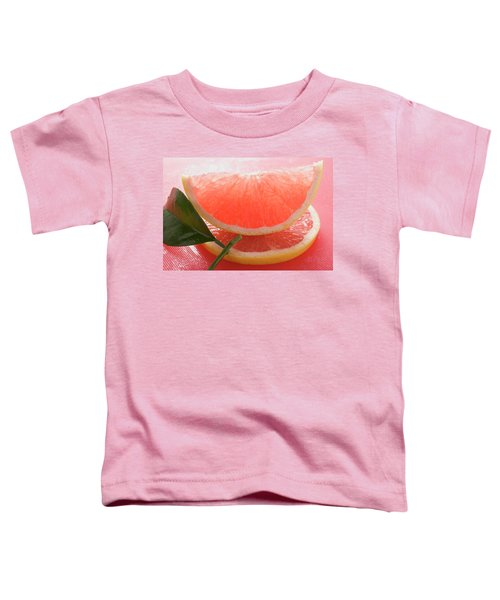 Wedge Of Pink Grapefruit On Slice Of Grapefruit With Leaf Toddler T-Shirt