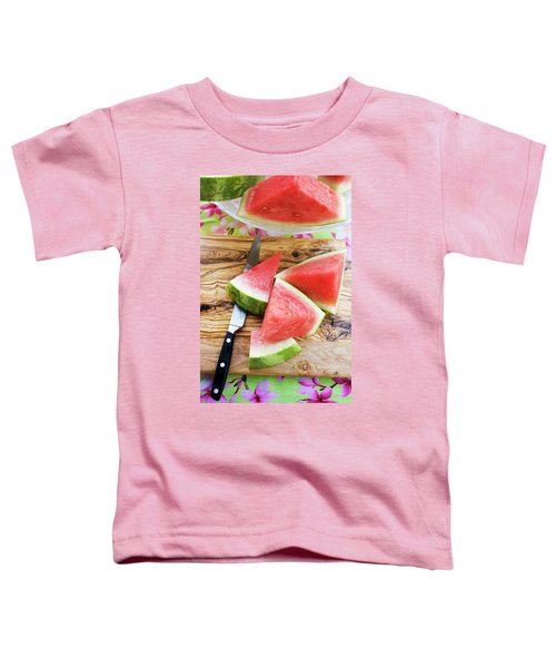 Wedges Of Watermelon And Knife On A Wooden Board Toddler T-Shirt