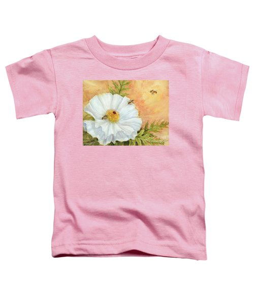 White Poppy And Bees Toddler T-Shirt