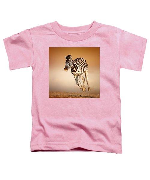 Zebra Calf Running Toddler T-Shirt