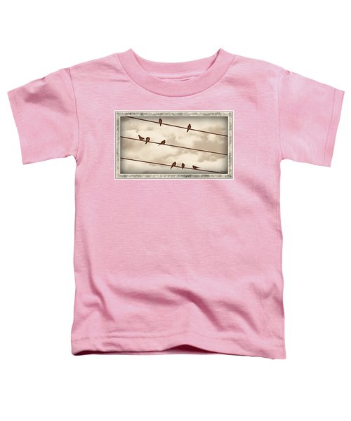 Toddler T-Shirt featuring the digital art Birds On Wires by Susan Kinney