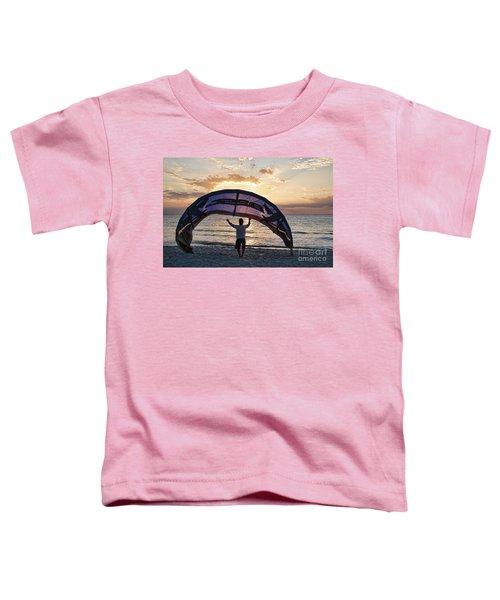 Putting Away The Kite At Clam Pass At Naples Florida Toddler T-Shirt
