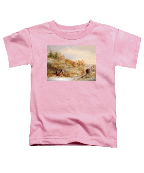 Fox And Pheasants In Winter Toddler T-Shirt by Anonymous