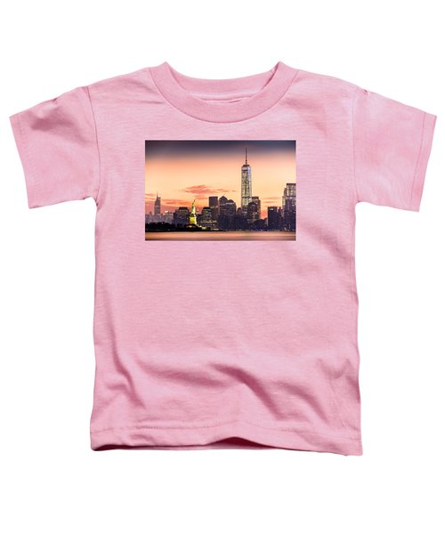 Lower Manhattan And The Statue Of Liberty At Sunrise Toddler T-Shirt