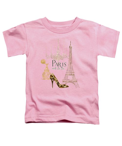 Paris - Ooh La La Fashion Eiffel Tower Chandelier Perfume Bottle Toddler T-Shirt by Audrey Jeanne Roberts
