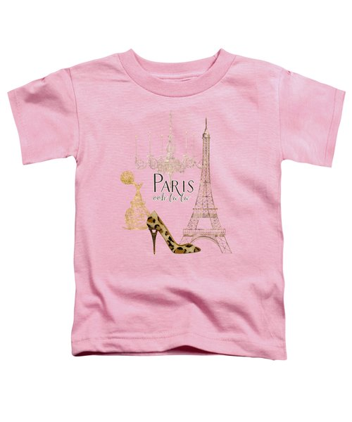 Paris - Ooh La La Fashion Eiffel Tower Chandelier Perfume Bottle Toddler T-Shirt