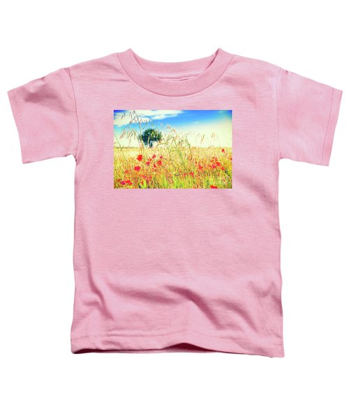 Toddler T-Shirt featuring the photograph Poppies With Tree In The Distance by Silvia Ganora