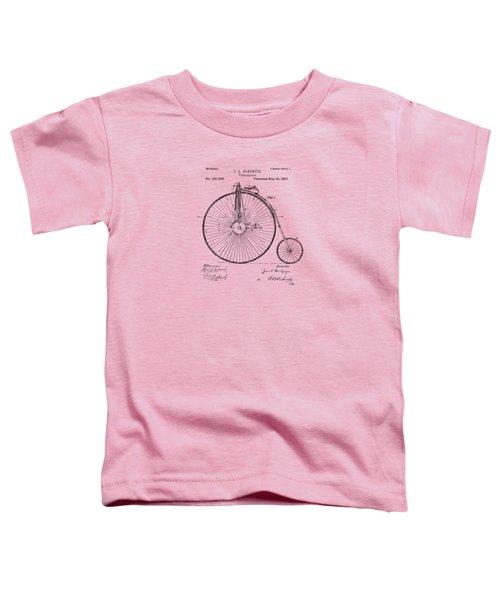 1881 Velocipede Bicycle Patent Artwork - Vintage Toddler T-Shirt