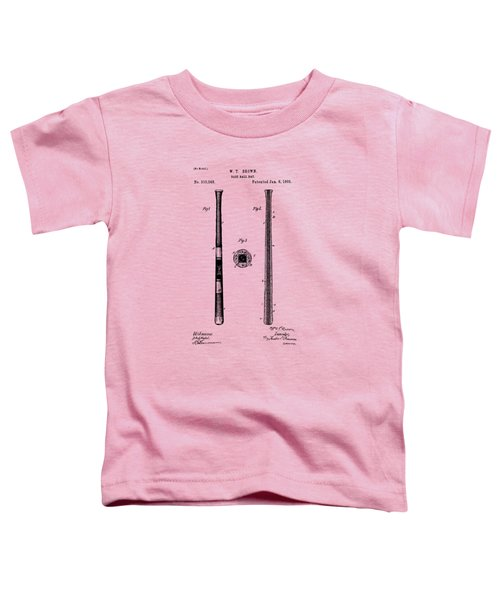 1885 Baseball Bat Patent Artwork - Vintage Toddler T-Shirt by Nikki Marie Smith
