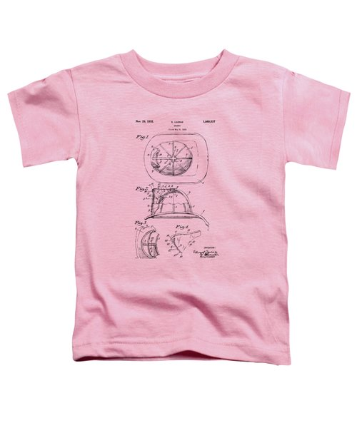 1932 Fireman Helmet Artwork Vintage Toddler T-Shirt by Nikki Marie Smith