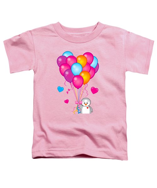 Baby Penguin With Heart Balloons Toddler T-Shirt