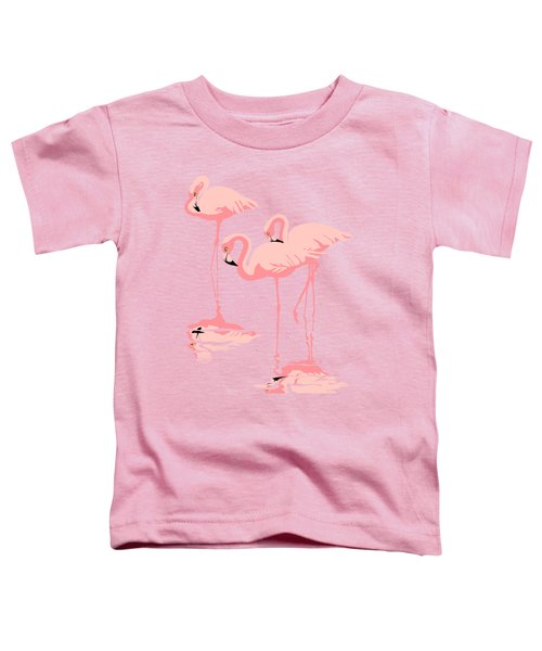 3 Pink Flamingos Abstract Pop Art Nouveau Graphic Art Retro Stylized Florida Toddler T-Shirt by Walt Curlee