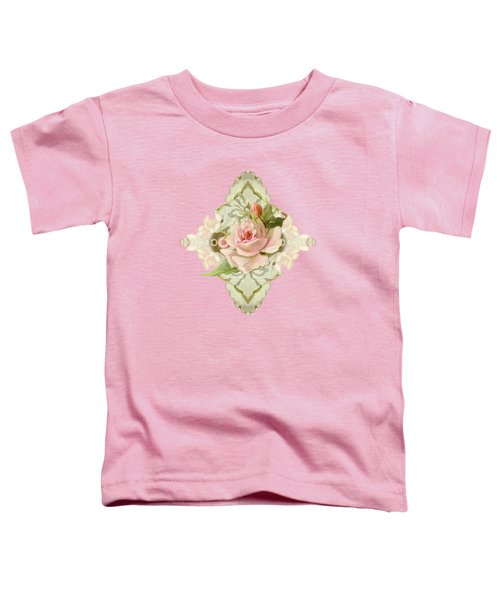 Summer At The Cottage - Vintage Style Damask Roses Toddler T-Shirt