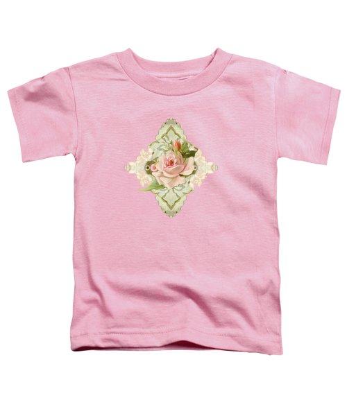 Summer At The Cottage - Vintage Style Damask Roses Toddler T-Shirt