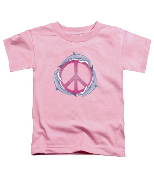 Dolphin Peace Pink Toddler T-Shirt by Chris MacDonald