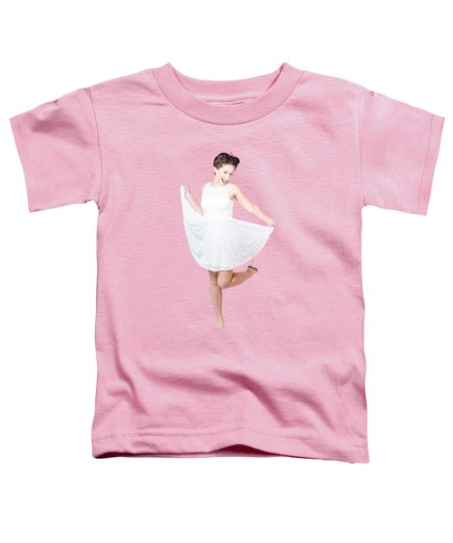 50s Pinup Woman In White Dress Dancing Toddler T-Shirt