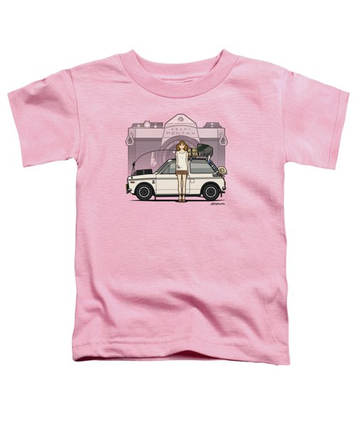Honda N600 Rally Kei Car With Japanese 60's Asahi Pentax Commercial Girl Toddler T-Shirt