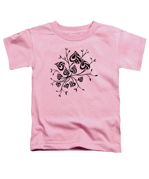 Abstract Floral With Pointy Leaves In Black And White Toddler T-Shirt