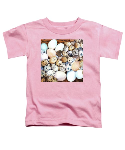 All My Eggs In One Basket Birds Egg Print Toddler T-Shirt