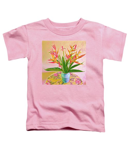 Aloha Bouquet Of The Day Halyconia And Birds In Pink Toddler T-Shirt