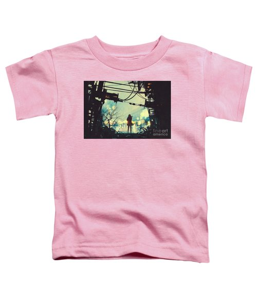 Toddler T-Shirt featuring the painting Alone In The Abandoned Town#2 by Tithi Luadthong