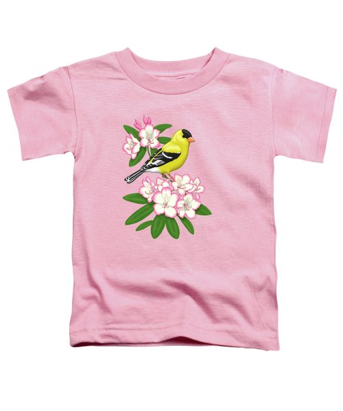 American Goldfinch And Coast Rhododendron Toddler T-Shirt